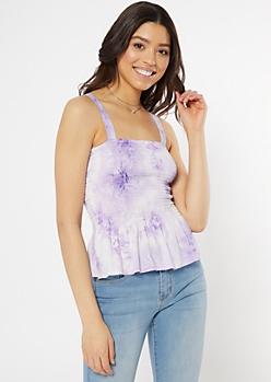 Lavender Tie Dye Smocked Peplum Tank Top