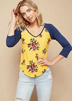 Mustard Floral Print V Neck Baseball Tee