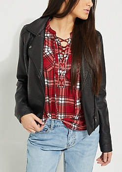 Red Plaid Print Lace Up Blouse