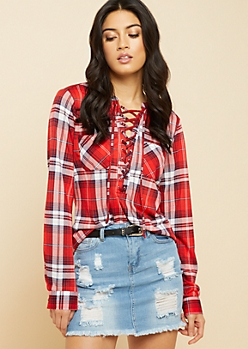 Red Plaid Print Lace Up Buttoned Cuff Top