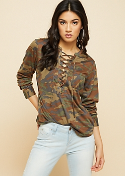 Camo Print Lace Up Buttoned Cuff Top