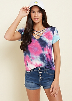 Navy Tie Dye Lattice Strap Tee