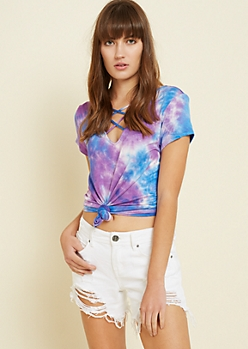 Purple Tie Dye Lattice Strap Tee