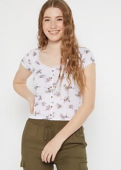 White Floral Print Lace Trim Scoop Neck Top