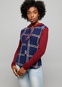 Navy Plaid Pattern High Low Button Down Hoodie