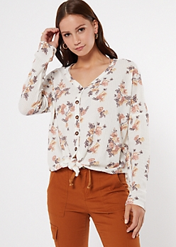 Ivory Floral Print Tie Front Waffle Knit Top