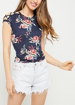 Navy Floral Print Lattice Shoulder Tee