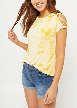 Light Yellow Tie Dye Lattice Shoulder Tee