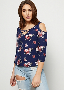 Navy Super Soft Floral Print Crisscross Top