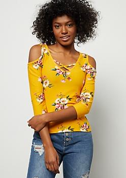 Mustard Super Soft Floral Print Crisscross Top