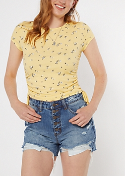 Yellow Floral Print Tie Side Ribbed Knit Tee