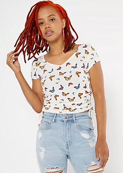 Butterfly Print Ribbed Cinched Drawstring Side Tee