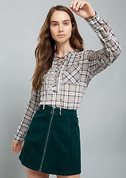 Gray Plaid Print Lace Up Front Top