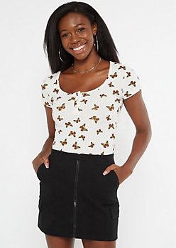 White Butterfly Print Ribbed Henley Tee