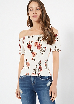 Ivory Floral Print Smocked Puff Sleeve Top