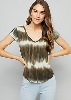 Olive Tie Dye Super Soft V Neck Fitted Tee