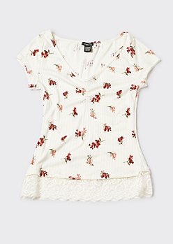 Cream Ditsy Floral Print Layered Lace Tee