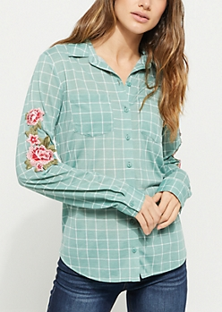 Green Checkered Print Embroidered Shirt