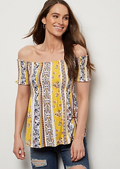 Yellow Smocked Off The Shoulder Super Soft Top