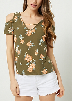 Olive Floral Print Cutout Super Soft Tee