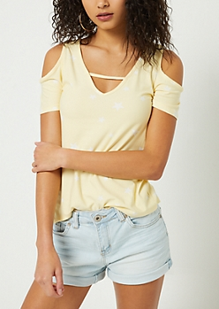 Light Yellow Star Print Cutout Super Soft Tee