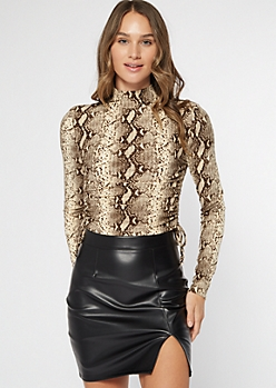 Snakeskin Print Mock Neck Ruched Top