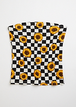 Sunflower Checkered Print Super Soft Tube Top