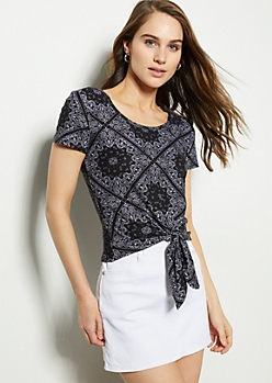 Black Paisley Print Tie Front Super Soft Tee