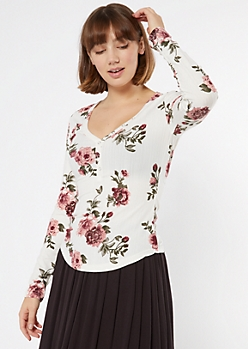 Ivory Floral Print Snap Henley Top