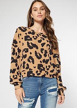 Leopard Print Hacci Knit Open Twist Back Top
