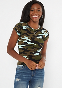 Blue Camo Print Super Soft Baby Tee