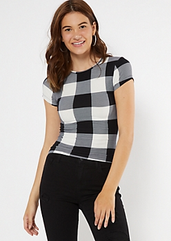 Black Plaid Print Super Soft Baby Tee