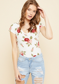 White Floral Print Super Soft V Neck Tee
