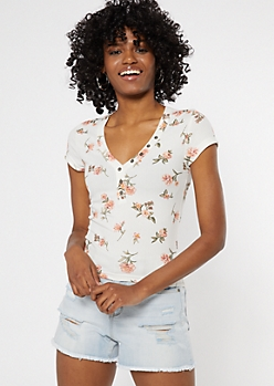 Ivory Floral Print Button Down Baby Tee