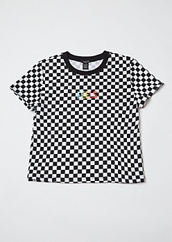 Checkered Print Embroidered Feels Boxy Tee