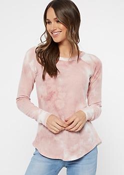 Pink Tie Dye Waffle Knit Long Sleeve Tunic