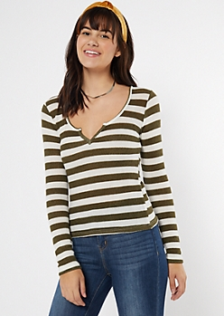 Olive Striped Notch Neck Top