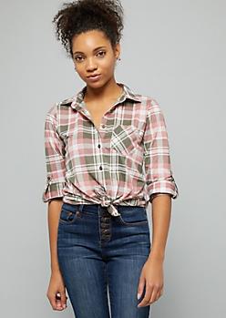Olive Plaid Print Tie Front Button Down Shirt