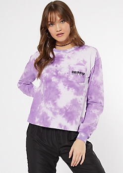 Purple Tie Dye Drippin Embroidered Tee