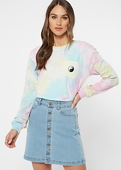 Pastel Tie Dye Yin Yang Embroidered Tee