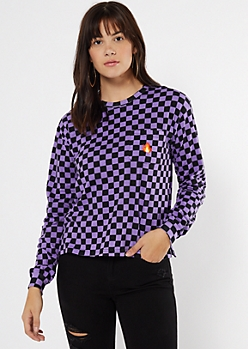 Purple Checkered Print Flame Embroidered Tee