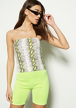 Neon Yellow Snakeskin Super Soft Tube Top