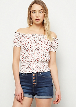 White Floral Print Off The Shoulder Bubble Sleeve Top