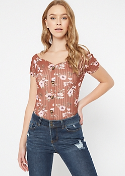 Brown Floral Faux Button Off The Shoulder Top