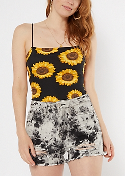 Black Sunflower Print Bungee Tank Top
