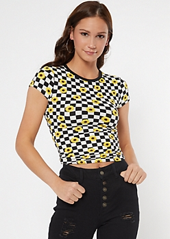 Checkered Sunflower Print Super Soft Baby Tee