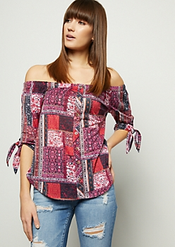 Dark Pink Border Print Off The Shoulder Button Down Shirt