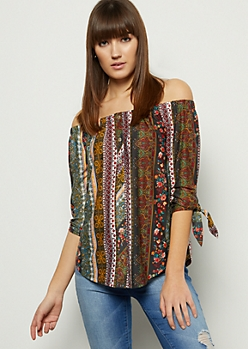 Dark Green Border Print Off The Shoulder Button Down Shirt