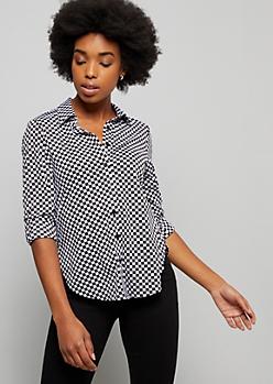 Checkered Print Button Down Shirt