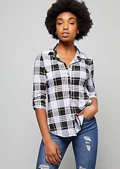 Ivory Plaid Print Button Down Fitted Shirt